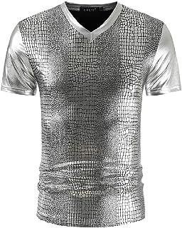 MU2M Mens V Nightclub Short Neck Sleeve Slim Fit Stylish Snakeskin Print T-Shirt Tee
