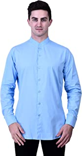TIGER EXPORTS Men's Solid Cotton Formal Chinese Coller Casual Full Sleeve Shirts