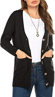 Womens Chunky Cardigan Long Sleeves Button V Neck Pockets Cable Knit Sweater
