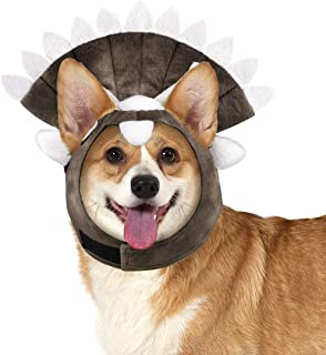 Pawaboo Dog Costume Triceratops Headpiece, Puppy Party Funny Headwear with Ear Holes & Elastic Ribbon, Cute Animal Shape Cosplay Costume Cap Head Cover Halloween Party Dress Up Accessory, Brown
