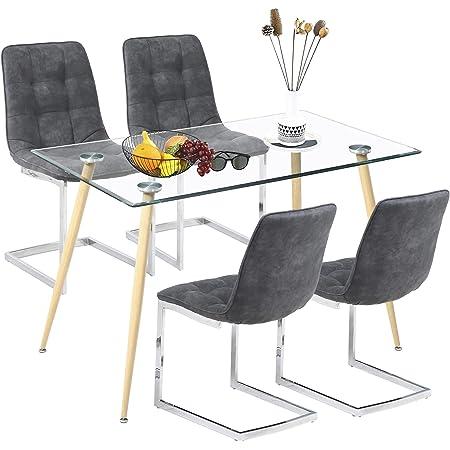 Ensemble de Salle à Manger Moderne avec Table en Verre et 4 chaises Shepping pour Salle à Manger, Cuisine, Salon (Table Ronde + Quatre chaises) (Table carrée + Quatre chaises)