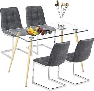 Ensemble de Salle à Manger Moderne avec Table en Verre et 4 chaises Shepping pour Salle à Manger, Cuisine, Salon (Table Ro...