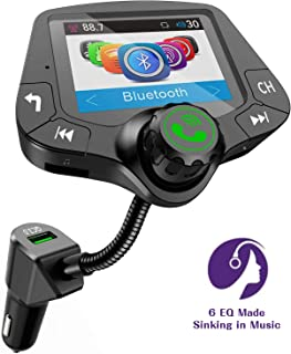 VR-robot Bluetooth FM Transmitter for car, Wireless Radio Adapter Hands-Free 2'' Color Display, with QC3.0 Fast Charging, 6 EQ Mode, AUX Input/Output, 3 USB Ports Charger, TF Card U-Disk Music Player