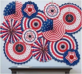 jollylife 4th/Fourth of July Patriotic Decorations - Red White Blue Hanging Paper Fans Party Decor Supplies