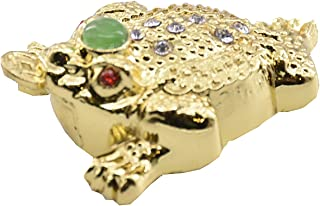 Feng Shui Sparkling Crystal Jeweled Mini Money Frog Coin Toad/Chan Chu Chinese Prosperity Home Decoration Gift