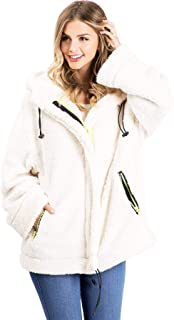 Lana Roux Women's Super Oversize Teddy Bear Fur Sherpa Jacket Hoodie