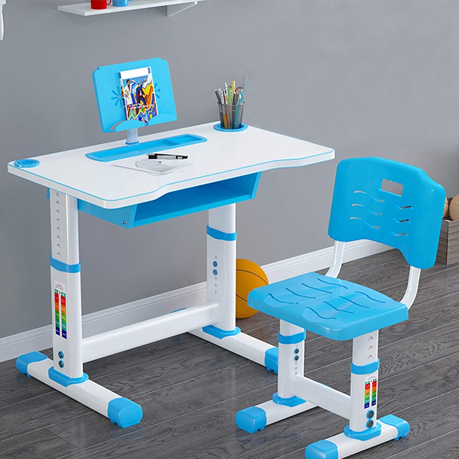 AMZFDC Children Desk Kids and gift Large special price Adjustable Chair Set C Height