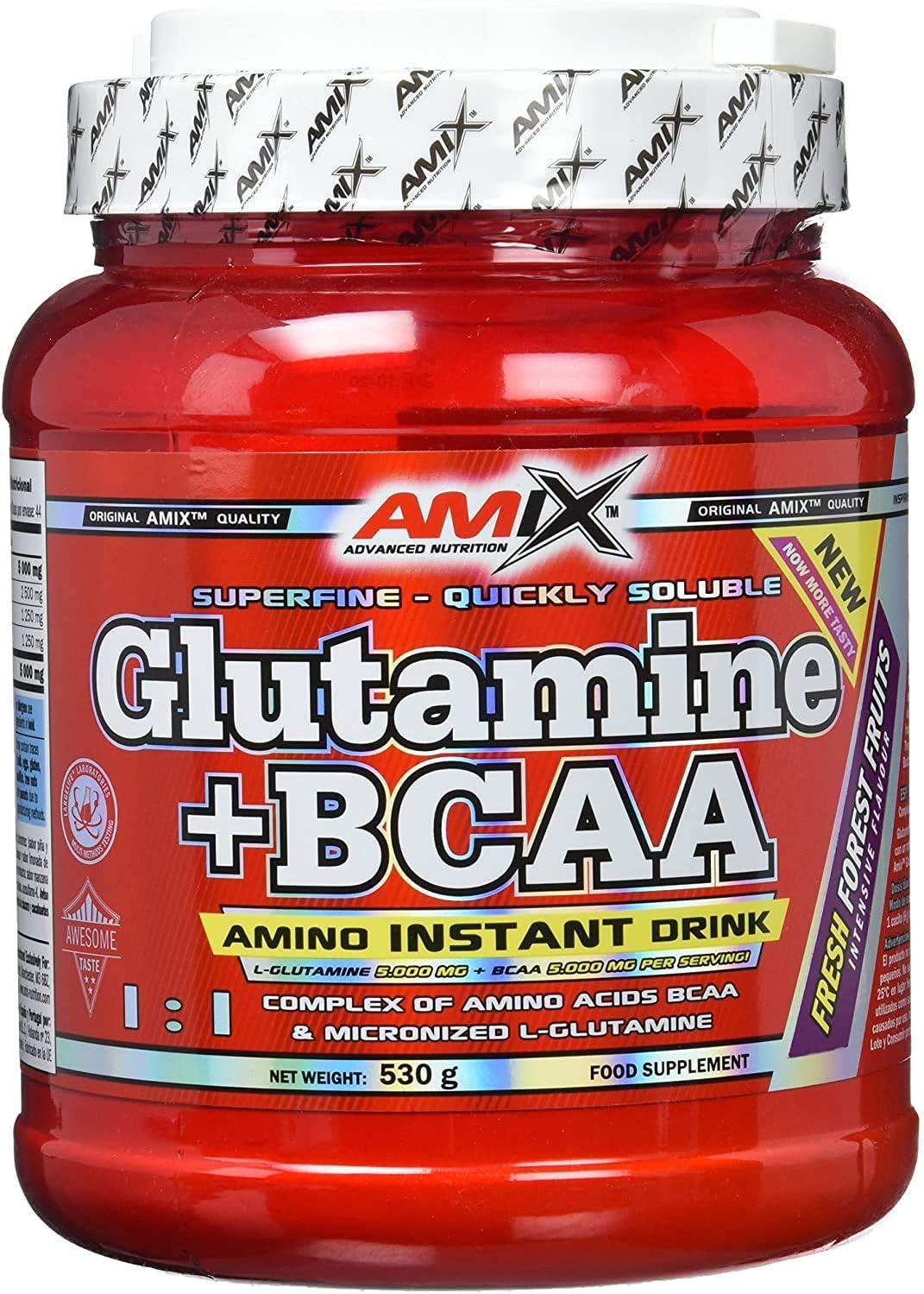AMIX - Bcaa Glutamina - 530 Gramos - Complemento Alimenticio de Glutamina en Polvo - Reduce el Catabolismo Muscular - Óptimo para Deportistas - Sabor Frutas del Bosque - Aminoácidos Ramificados