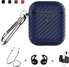 Taosings Airpods Case Cover, Cute Carbon Fiber Texture Protective AirPods Skin Case Cover for Men Women Compatible AirPods 1&2 Charging Case with Carabiner+Strap+Earhooks [Support Wireless Charging]