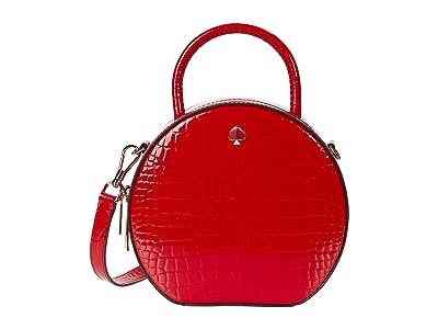 Kate Spade New York Andi Croc Embossed Canteen Bag (Hot Chili) Handbags