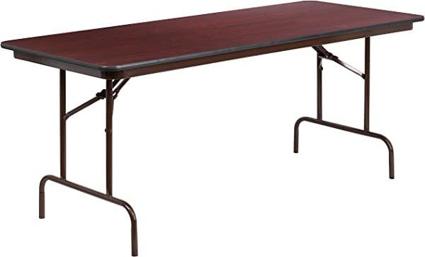 Flash Furniture 30 X 72 Rectangular Mahogany Melamine Laminate Folding Banquet Table