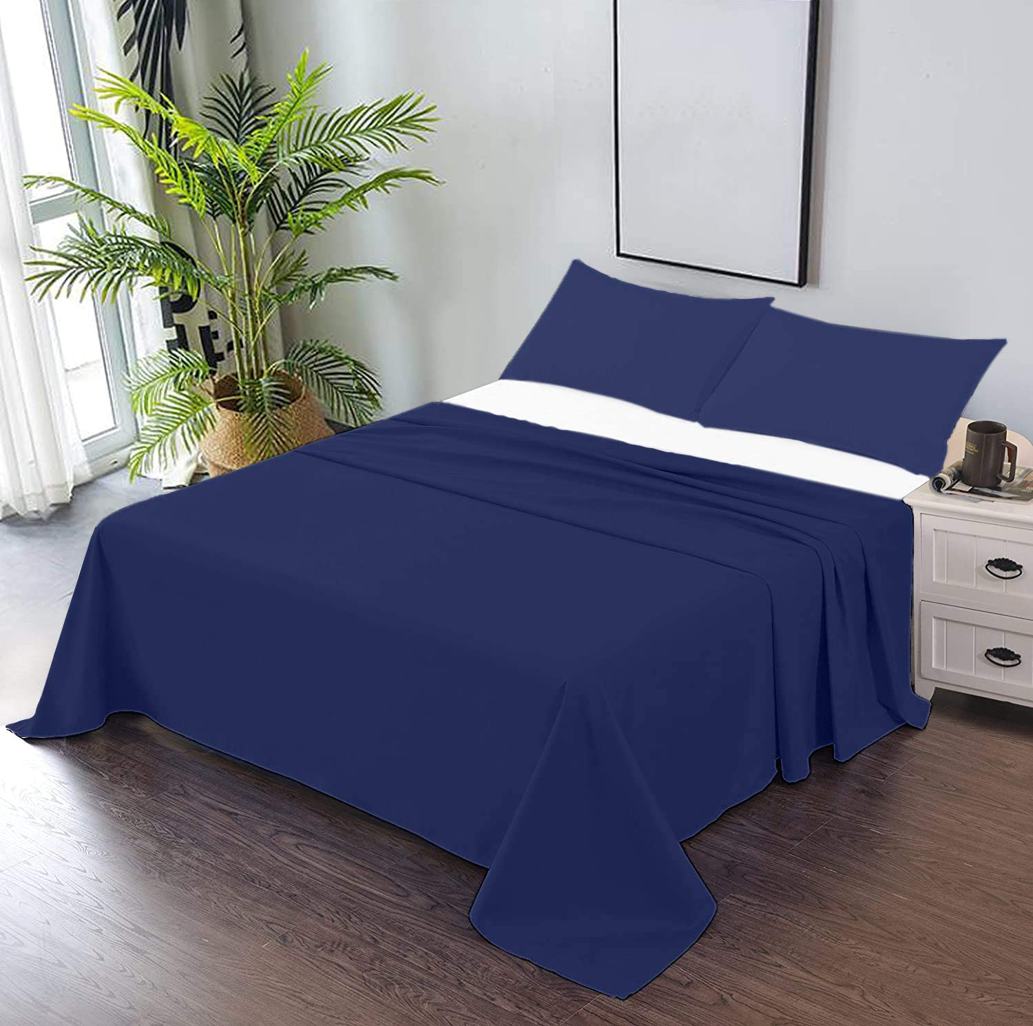 Trend Bedding Mart 3 PC Factory outlet Solid Bedsheet Flat with 2 Top Sheet 1 - National uniform free shipping