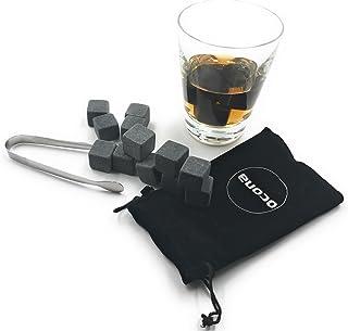 ocona Whisky Steine, wiederverwendbare Eiswürfel mit Eiszange, Speckstein 12 Stück