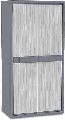 Terry Jumbo 2900 UW Armoire d'intérieur et d'extérieur à 2 portes, 4 étagères intérieures, Gris, 89,7x53,7x180 cm