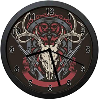YiiHaanBuy Hunting Decorative Wall Clock,Abstract Gothic Victorian Stag Deer Antelope Skull Shotguns in Antique-Office,Bedroom,Kitchen,Bathroom,Silent Battery Quartz Wall clock-12 inch