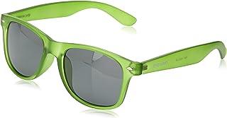 Beach Wayfarer - Gafas de Sol polarizadas - Montura : Verde Brillante Transparente - Lentes : Verde Espejo (18202.26)