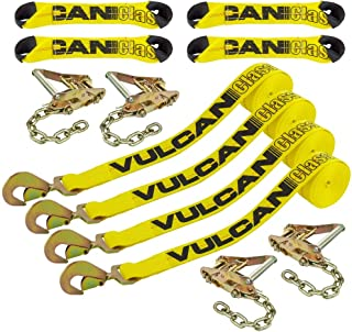 Vulcan Classic Yellow 8-Point Roll Back Vehicle Tie Down Kit with Snap Hook On Strap Ends and Chain Tail On Ratchet Ends (Set of 4)
