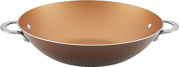 Ayesha Home Collection Porcelain Enamel Nonstick Wok, 14-Inch, Brown Sugar