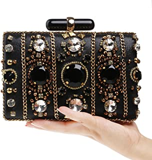 Sturdy Women's Beaded Bags Luxury Banquet Evening Clutch Purse Handbag. Large Capacity (Color : Black)