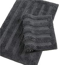 Seavish Luxury Grey Bath Rug 2 Piece Set, 15.7 X 23.6 + 19.5 X 31.5 Striped Shaggy Bathroom Rugs,Non Slip Dry Fast Water A...