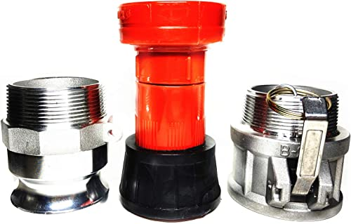 SAFBY Fire Hose Nozzle 2 Inch NPSH/NPT Thermoplastic Fire Equipment Spray Jet Fog with 2 Inch Aluminum Female and Mal...