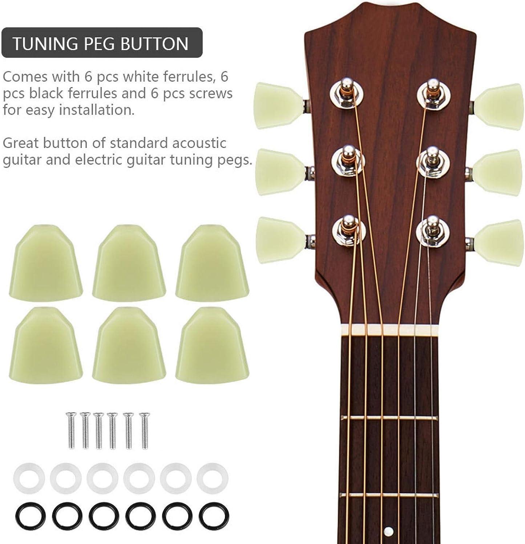 Botón de clavija de afinación con férula y tornillo que reemplazan sus clavijas de afinación viejas y sucias para guitarristas, estudiantes de aprendizaje de guitarra, principiantes.(Jade green)