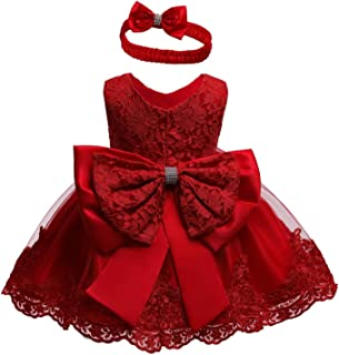 NSSMWTTC 0-2 Years Baby Girls Pageant Lace Dresses Toddler Party Embroideryr Dress with Headwear