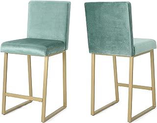 Christopher Knight Home 306435 Lexi Modern Velvet Barstools, Turquoise and Brass (Set of 2)