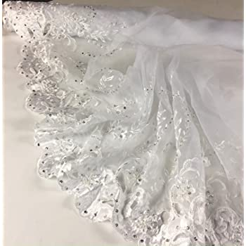"""2/"""" Ivory Pink Satin Bridal Pearl Beaded Corded Lace Trim Cut Out by Yard"""