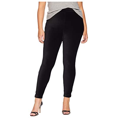 HUE Plus Size High-Waist Corduroy Leggings (Black) Women