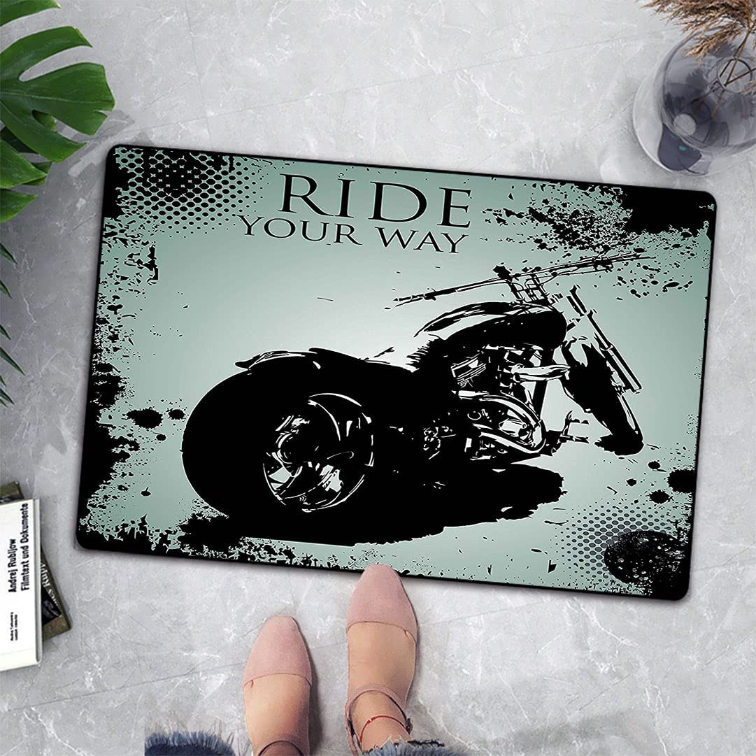 Vintage Front Door Mat Retro Motorcycle Gifts Black with Spla Quality inspection and Dots