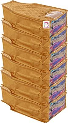 atorakushon® Satin Blouse Cover Clothes Storage Bag Wardrobe Garments Organiser Pack of 6 (Golden)