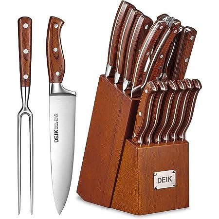 DeikEnsemblede CouteauxSet de Couteaux Professionnels 16Pièces Couteaux de Cuisine avec Bloc en BoisCouteauxenAcierInoxydable avec Aiguiseur