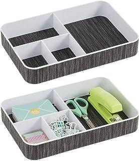 mDesign boîte de Rangement pour Bureau (Lot de 2) – boîte à Papeterie à 6 Compartiment pour stylos, Trombones, Blocs-Notes...