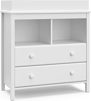 Storkcraft Alpine 2 Drawer Changing Table Chest - Attached Changing Table Topper Fits Any Standard-Size Baby Changing Pad, 2 Drawers, 2 Shelves for Extra Nursery Storage, Easy to Assemble, White