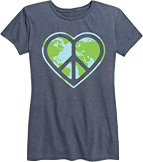 Heart Peace Sign Earth - Ladies Short Sleeve Classic Fit Tee
