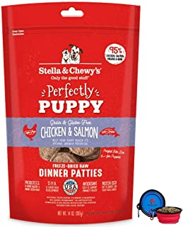 Stella & Chewy's Freeze Dried Dog Food Patties,Snacks Perfectly Puppy 14 Oz Bag with Hotspot Pets Food Bowl - Made in USA (Chicken)