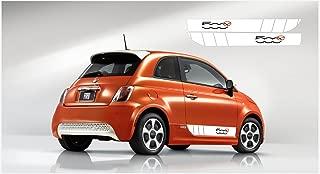 snstyling.com Fiat 500 Side Decal L+R Set (White - Black - Orange) '500e'
