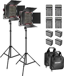 Neewer 2-pack dimbar Bicolore 660 video LED-lampa med barndörr och 6,5 fot, 4 6600 mAh Li-Ione batteriladdare för foto stu...