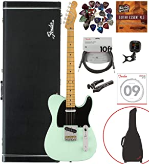 Fender Vintera '50s Telecaster Modified, Maple, Surf Green Bundle w/Case, Gig Bag, Cable, Tuner, Strap, Strings, Picks, Capo, Fender Play, and Austin Bazaar Instructional DVD
