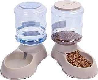 YGJT Automatischer Futterspender Katze/Hunde Wasserspender mit Filter | Haustier Automatischer Wasserspender,Futterautomat Kitten Trinkbrunnen Welpen Schüssel jeweils 3.8 L