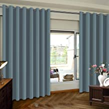 Premium Room Divider (Nobody Can See Through, 9ft Tall x 8.3ft Wide), Blackout Curtain Panels, Extra Long and Wide Thermal Insulated Patio Curtains -100 W by 108 L- Stone Blue-One Panel