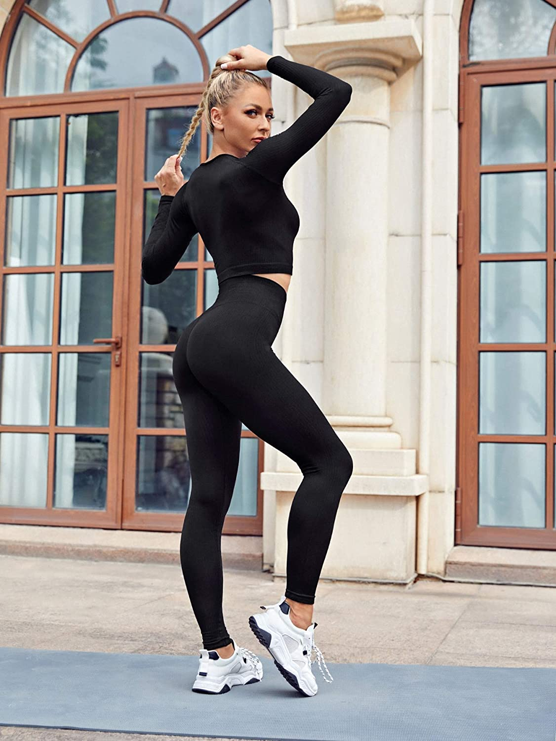 MakeMeChic Womens Two Piece Yoga Gym Crop Top and Sports Leggings