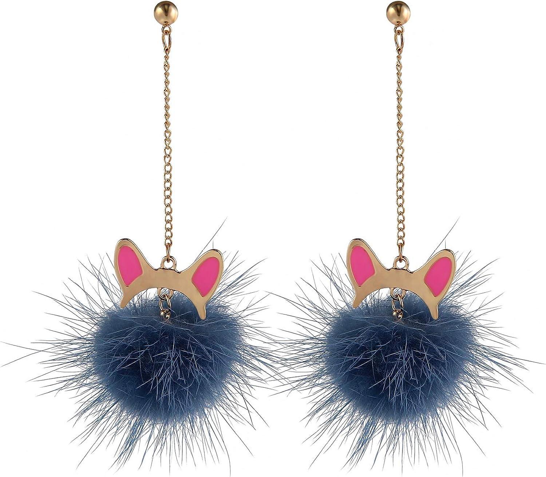 Fashion Fur Pom Pom Ball Dangle Earrings
