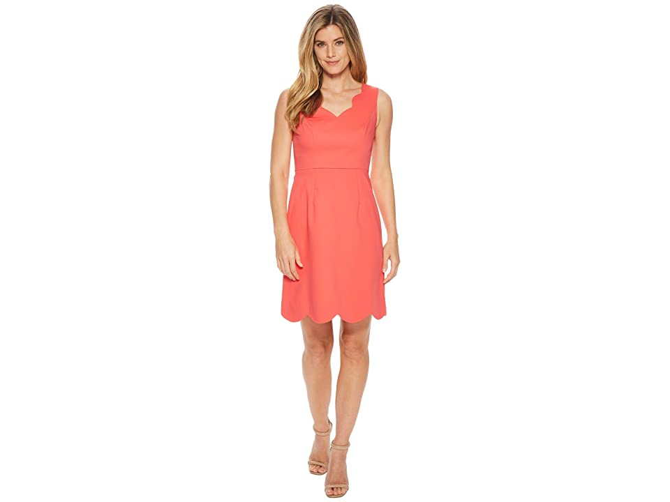 Adrianna Papell Elsa Cotton Nylon Scalloped A-Line (Strawberry Pink) Women