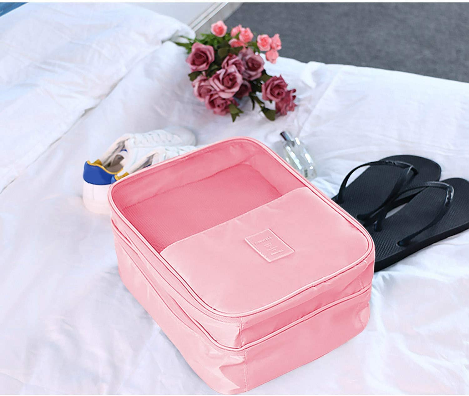 Shoes Bag for Travel Waterproof Dustproof Double-Layer Luggage Shoes Storage Bag Organizer for Men Women Traveling Vacation Trip Camping Pink Gosear Shoes Bag for Luggage