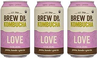 Brew Dr LOVE Raw Organic Kombucha, 12 Fl oz Cans (3 Pack)