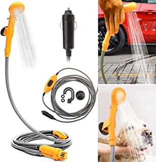 Portable Outdoor Shower Kit, MASO 12V Camping Showers with Water Pump, 5 Meter Cable With Cigarette Lighter Plug, Max 7L Water Per Minute for Champing Pet Bath