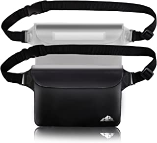 2-Pack Waterproof Pouch with Waist Strap, Screen Touchable Dry Bag with Adjustable Belt for Phone Valuables for Swimming Snorkeling Boating Fishing Kayaking