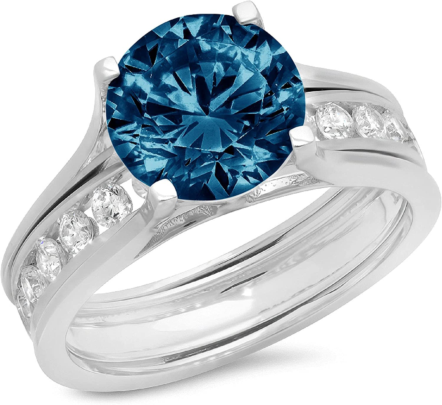 Clara Pucci 2.89ct Round Cut Pave Solitaire Accent Genuine Flawless Natural London Blue Topaz Engagement Promise Statement Anniversary Bridal Wedding Ring Band set Sliding Solid 18K White Gold